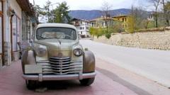 Old Car at Traditional Ottoman Anatolian Village, Safranbolu, Turkey - stock footage