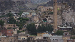 Remains of ancient bridge and buidlings in Hasankeyf, Turkey Stock Footage