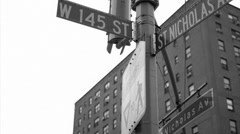 145 St and St Nicholas Ave Harlem black and white vintage 16mm footage in NYC Stock Footage