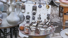 Silver copper pots pans at shop, safranbolu, turkey Stock Footage
