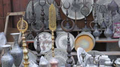Silver copper pots pans at shop, safranbolu, turkey Stock Footage