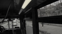 Interior bus ghetto South Bronx old gritty archival man walking jogging suit NYC Stock Footage