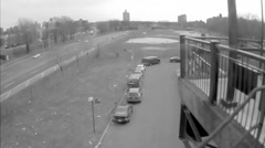 Highway graffiti South Bronx black and white old 16mm film archival footage NYC Stock Footage