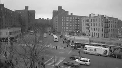 Subway train South Bronx NYC black and white vintage archival 60s footage ghetto Stock Footage