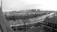 driving bridge Bronx River Elder black and white vintage 60s archival footage NY - stock footage