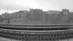 The South Bronx ghetto black and white gritty archival vintage subway tracks Stock Footage