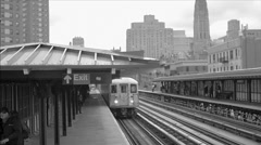 Black and white vintage old film archival footage 1 train Harlem elevated subway Stock Footage