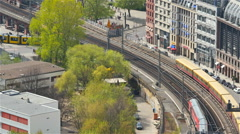 Aerial view of train  arriving at berlin train station Stock Footage
