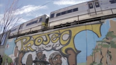 Graffiti famous rappers Hip Hop Jam Master Jay Tupac subway Jamaica Queens NYC Arkistovideo