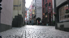 Narrow cobbled street in Cologne Old Town Stock Footage