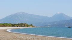Fethiye, turkey mediterranean beach by sea in spring, sunny day Stock Footage