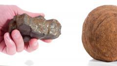 Meteorites on white background 4k Stock Footage