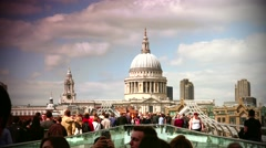 People walking over Millennium bridge in London,real time,4k. Stock Footage