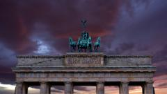 Brandenburg gate close up on horse and chariot sculpture Stock Footage