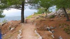 Tourist man walking trekking historical lycian way, lycia road, turkey Stock Footage