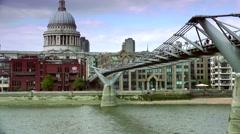 People walking over Millennium bridge in London,real time,4k. Stock Footage