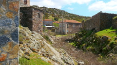 Traditional stone houses old turkish villages around Assos, Canakkale, Turkey Stock Footage