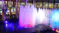 Colorful show fountains in Jungceylon Shopping center in Patong - stock footage