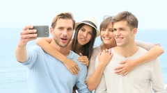 Stock Video Footage of Group of friend taking selfie picture with smartphone
