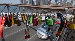 Locks Attached to Brooklyn Bridge Stock Footage