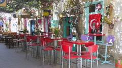 Empty cafe bar restaurant on day time, foca, izmir, turkey Stock Footage