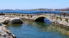 Empty bridge of foca castle, izmir, turkey Stock Footage