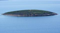 Small tiny island in mediterranean aegean sea, foca, izmir, turkey Stock Footage