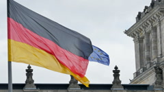 German and european  flags blowing Stock Footage