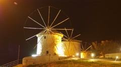 Historical mill at night, travel destination, alacati, cesme, turkey Stock Footage