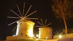 Historical mill at night, travel destination, alacati, cesme, turkey Stock Footage
