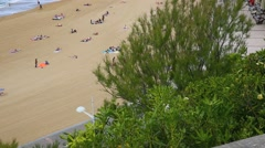 Panoramic view of Biarritz Grande Plage, France Stock Footage