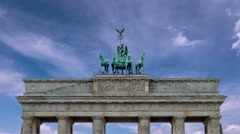 Horse and chariot sculpture brandenburg gate time lapse Stock Footage
