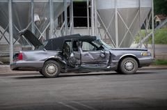 Destroyed Lincoln Towncar - stock photo