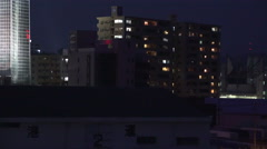 Aerial View Buildings Of Shimonoseki Japan Night Time Stock Footage
