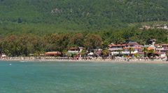 Akyaka, Turkey, beach, sunbed, Daily life Summer Travel Destination - stock footage