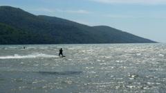 Akyaka, Turkey, Kitesurfer Kite Surfing at sea - stock footage
