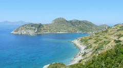 Majestic empty turquoise beach, high angle view, knidos, datca, turkey Stock Footage