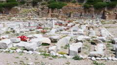 Knidos amphitheater and majestic sea, datca, turkey Stock Footage
