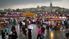 Hustle and bustle of people just before the rain started in Istanbul. Timelapse  Stock Footage