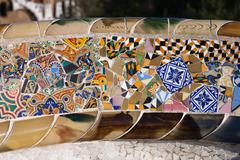 Trencadis Mosaic at Gaudi Park Guell in Barcelona - stock photo
