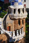 Porter's Lodge Pavilion in Park Guell Stock Photos