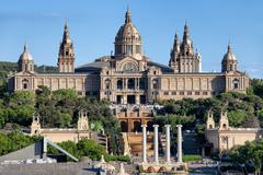 National Art Museum of Catalonia at Montjuic in Barcelona Stock Photos
