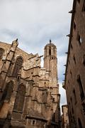 Gothic Architecture of the Barcelona Cathedral Stock Photos