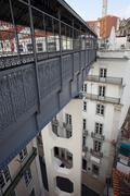 Footbridge of the Santa Justa Lift in Lisbon - stock photo