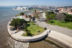 Tagus River Promenade in Lisbon Stock Photos