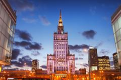 Palace of Culture and Science in Warsaw - stock photo