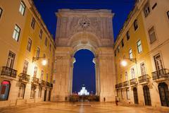 Rua Augusta Arch at Night in Lisbon Stock Photos