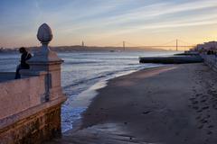 Lisbon River Beach at Sunset Stock Photos