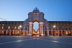 Rua Augusta Arch at Dusk in Lisbon Stock Photos