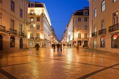 Rua Augusta Street at Night in Lisbon - stock photo